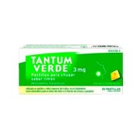 TANTUM VERDE 3 mg PASTILLAS PARA CHUPAR SABOR LIMON, 20 pastillas