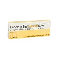 BIODRAMINA INFANTIL 25 mg COMPRIMIDOS RECUBIERTOS CON PELICULA, 12 comprimidos